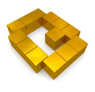 Letter q cubic golden Stock Photos