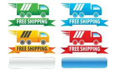 Free Shipping Trucks Ribbons and Buttons Stock Illustration