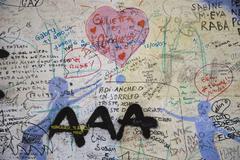Italy, Liguria, Via dell'Amore, Painted wall Stock Photos