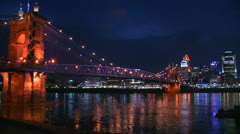 Light reflects off the Ohio River with the city of Cincinnati Ohio background. - stock footage