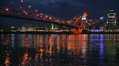 Light reflects off the Ohio River with the city of Cincinnati Ohio background. Stock Footage