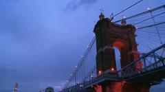 Tilt down to a beautiful night shot of Cincinnati Ohio. Stock Footage