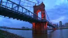A beautiful panning night shot of Cincinnati Ohio. Stock Footage