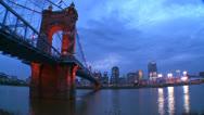 Stock Video Footage of A beautiful night shot of Cincinnati Ohio.
