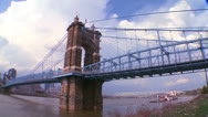 Stock Video Footage of A bridge over the Ohio River leads to Cincinnati Ohio.
