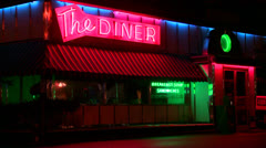 A roadside diner at night. Stock Footage