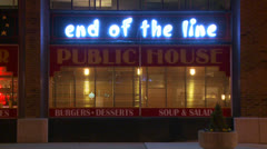 The End of the line bar and grill at night. Stock Footage