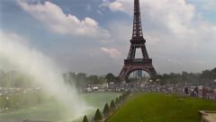 Eiffel Tower, Paris, panoramic Stock Footage