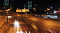 Night city traffic on freeway, time-lapse, Moscow, Russia. HD Footage