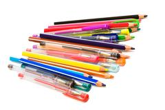color pencils and pens - stock photo