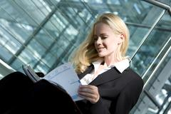 Business woman with diary, portrait Stock Photos
