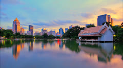 City and the lake in the evening Stock Footage