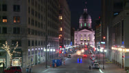 Stock Video Footage of The Indiana state capital building in Indianapolis at night.