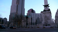 Stock Video Footage of Tilt up to downtown buildings of Indianapolis Indiana at dusk.