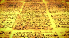 Ancient script, old scroll with unknown letters, pan fly over Stock Footage