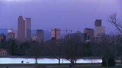 The skyline of Denver Colorado skyline at night. - stock footage