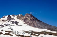 Mount Hood Summit and Chairlift - stock photo
