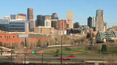 The skyline of Denver Colorado skyline ion a sunny day. Stock Footage