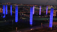 Stock Video Footage of An overview of Los Angeles International airport at dusk with traffic driving.