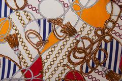 Silk scarf sea motifs - stock photo