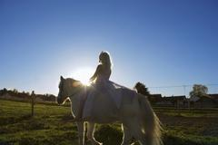 Girl dressed as princess, riding horse Stock Photos