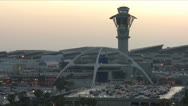 Stock Video Footage of Establishing shot of Los Angeles International airport, dusk.