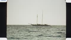 Yacht. (Vintage 1970's 16mm film footage). Stock Footage