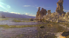 A traveling shot along the shores of Mono Lake in California. - stock footage