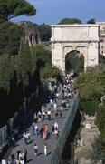 Italy, Rome, The Arch of Titus, tourists Stock Photos