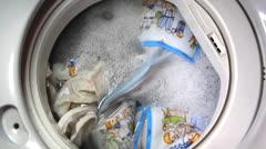 Closeup to washing machine Stock Footage