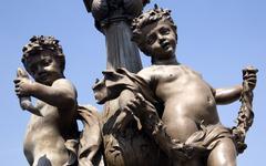 France, Paris, Pont Alexandre III, Bronze statue, close up Stock Photos