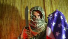 Terrorist terrorism anger angry america  flag Stock Footage