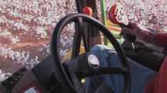 Cotton harvester POV Stock Footage