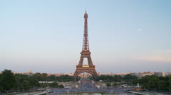 View of the Eiffel Tower from the Trocadero - Paris France - stock footage