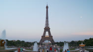 Stock Video Footage of View of the Eiffel Tower from the Trocadero - Paris France