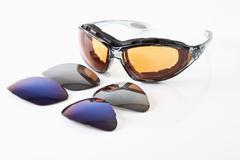 Sunglass with frames on white background - stock photo
