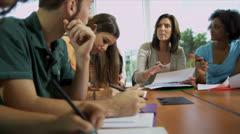 Group Multi Ethnic Teenage Students Caucasian Teacher - stock footage