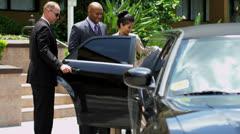 Limousine Meet and Greet Service Multi Ethnic Passengers Stock Footage