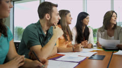 Young College Undergraduates Learning Female Tutor Stock Footage