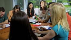 Multi Ethnic Teenage Students College Classroom - stock footage