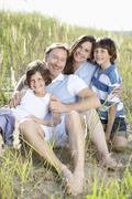 Germany, Bavaria, Family enjoying together, smiling, portrait - stock photo