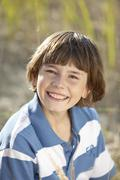 Germany, Bavaria, Boy (10-11 Years) smiling, portrait - stock photo