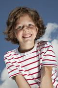 Germany, Bavaria, Girl (8-9 Years) smiling, portrait Stock Photos