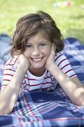Stock Photo of Germany, Bavaria, Girl (8-9 Years) smiling, portrait