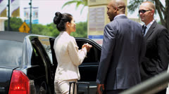 Business Executives Being Met Luxury Car Stock Footage