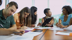 Multi Ethnic Teenage Students College Classroom Stock Footage