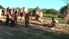 African native tribes - Young Himba people gathering in Namibia Stock Footage