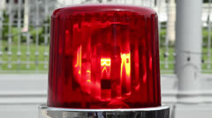 911 RED SPINNING FLASHING POLICE EMERGENCY LIGHT SIREN Stock Footage