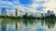 The park has a lake in the city. Stock Footage