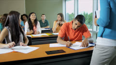 Class Multi Ethnic Students Modern Campus Classroom - stock footage